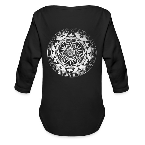 mandala1 jc white - Organic Longsleeve Baby Bodysuit