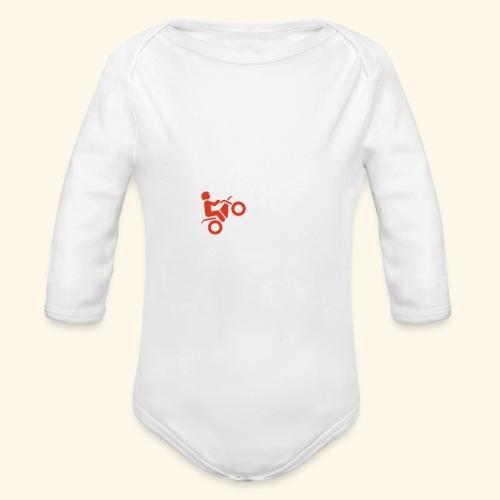 LOVE Cross white wheely red 001 - Baby Bio-Langarm-Body