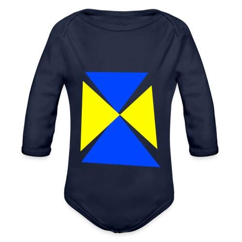 Blau - Gelb - Baby Bio-Langarm-Body