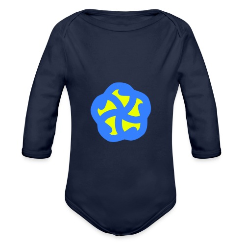 Blau Gelbe Blühte - Baby Bio-Langarm-Body