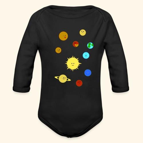Solsystem svart - Ekologisk långärmad babybody