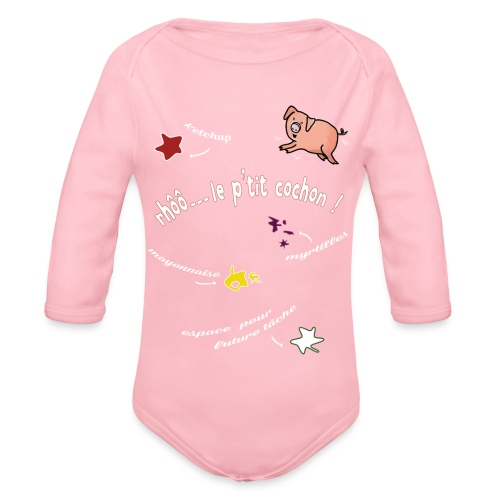 Rhoo le ptit cochon ! (version pour fond sombre) - Body Bébé bio manches longues
