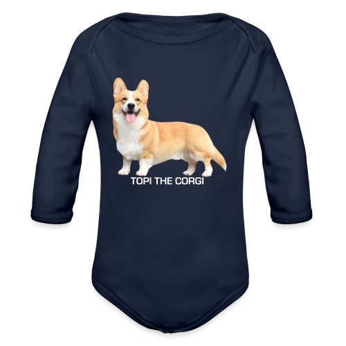 Topi the Corgi - White text - Organic Longsleeve Baby Bodysuit