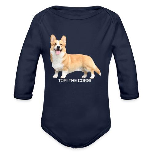Topi the Corgi - White text - Organic Longsleeve Baby Bodysuit