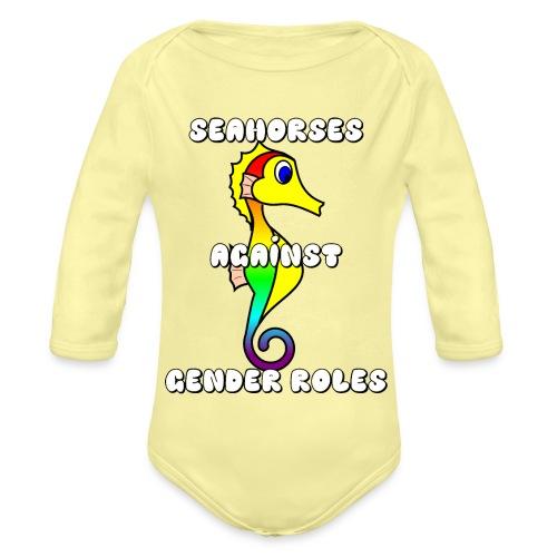 Seahorses against gender roles - Organic Longsleeve Baby Bodysuit