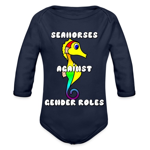 Seahorses against gender roles - Organic Longsleeve Baby Bodysuit