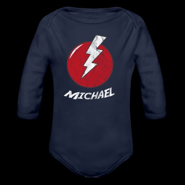 Nazwa piorun koszulka Superhero Superhero Michael - Ekologiczne body niemowlęce z długim rękawem