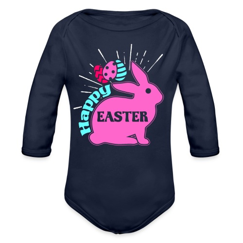 Happy Easter - Frohe Ostern - Baby Bio-Langarm-Body
