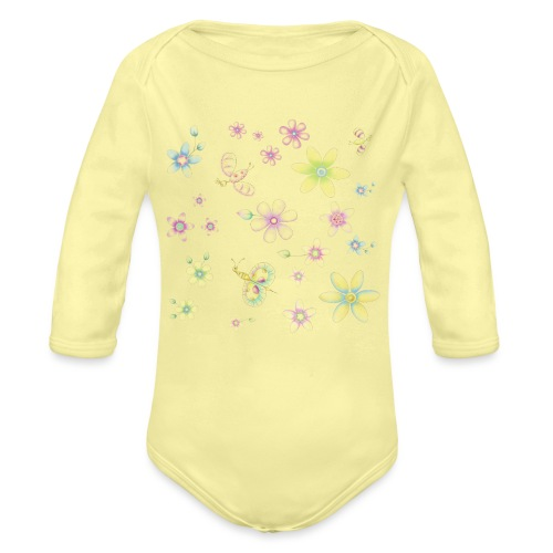 flowers and butterflies - Body ecologico per neonato a manica lunga