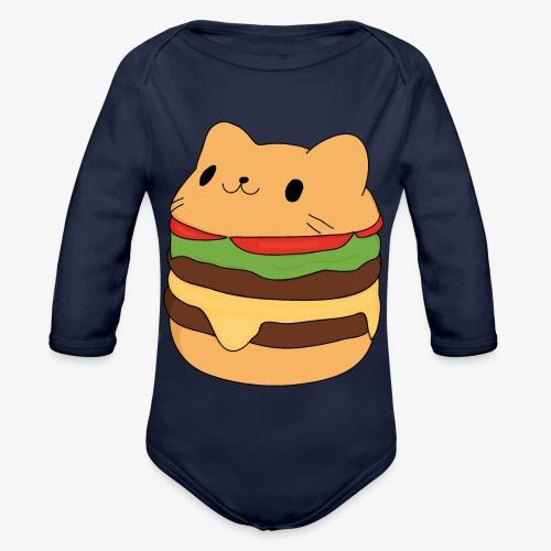 cat burger - Organic Longsleeve Baby Bodysuit
