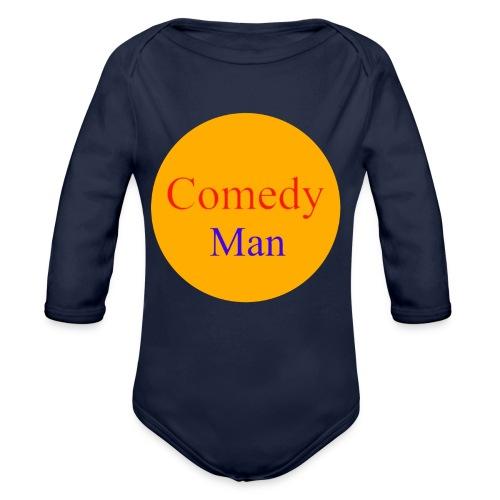 comedy man logo - Baby bio-rompertje met lange mouwen