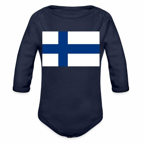 Suomenlippu - tuoteperhe - Vauvan pitkähihainen luomu-body
