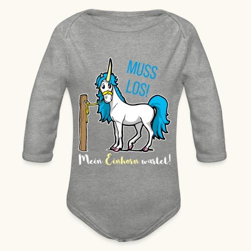 Dessin drôle de licorne disant bande dessinée cadeau - Body Bébé bio manches longues