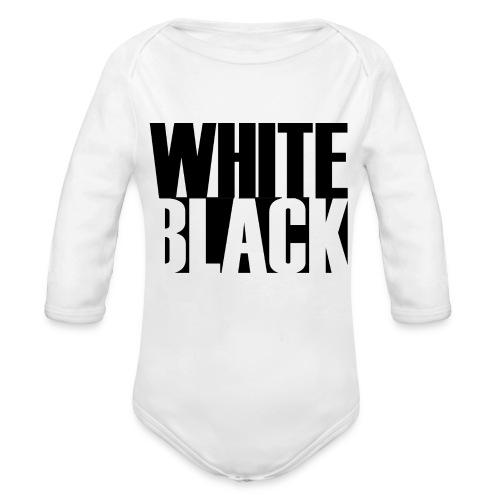 White, Black T-shirt - Baby bio-rompertje met lange mouwen