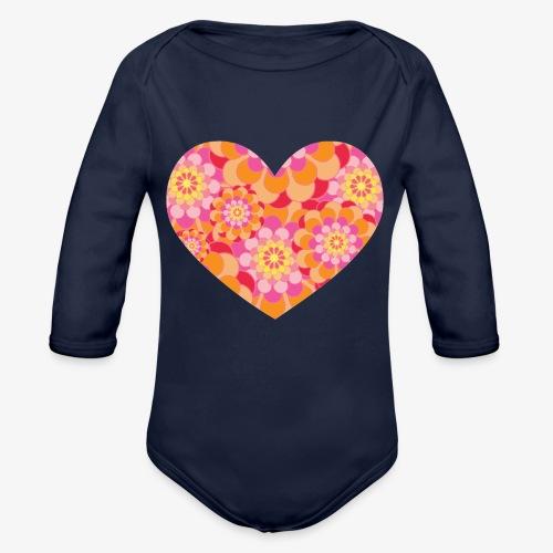 Floral Hearts - Organic Longsleeve Baby Bodysuit