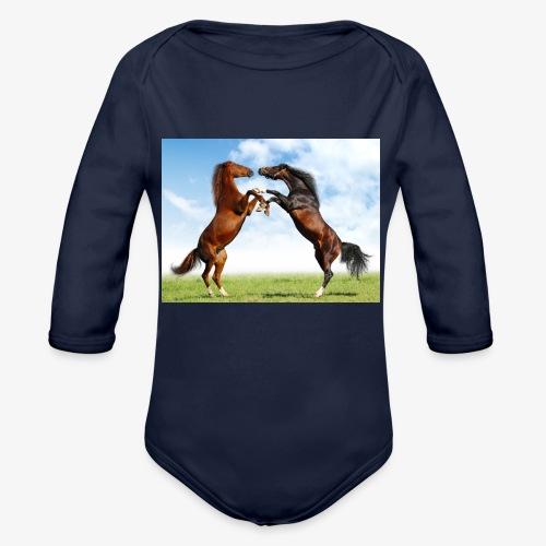 kaksi hevosta - Vauvan pitkähihainen luomu-body