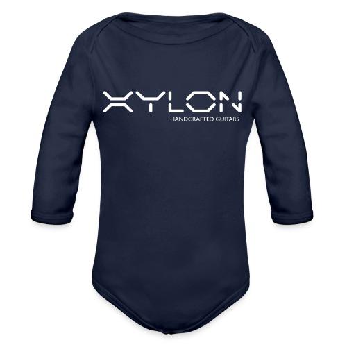 Xylon Handcrafted Guitars (name only logo white) - Organic Longsleeve Baby Bodysuit