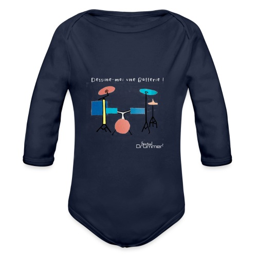 Azia Drum White - Organic Longsleeve Baby Bodysuit