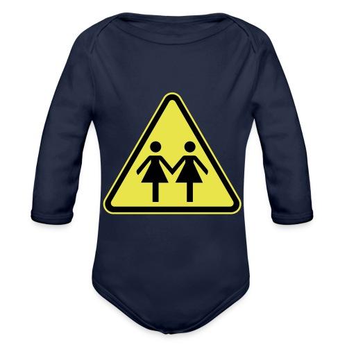 ACHTUNG LESBEN POWER! Motiv für lesbische Frauen - Baby Bio-Langarm-Body