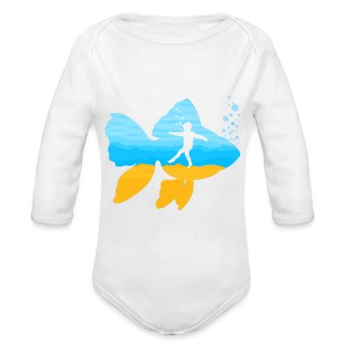 GEVOELIG VISJE - Baby bio-rompertje met lange mouwen