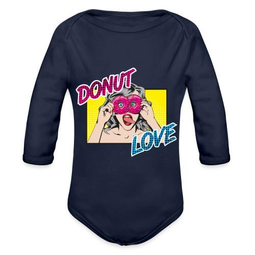 Popart - Donut Love - Zunge - Süßigkeit - Baby Bio-Langarm-Body