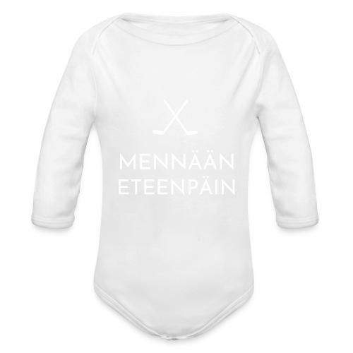 Mennaeaen eteenpaein valkoinen - Vauvan pitkähihainen luomu-body