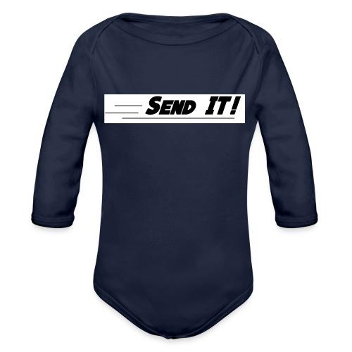 send it logo white - Organic Longsleeve Baby Bodysuit