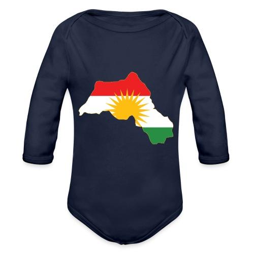 Kurdistan Flag Map - Baby Bio-Langarm-Body