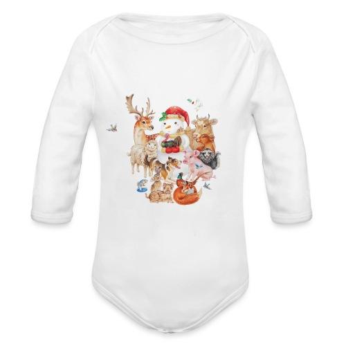 winter animals liggend - Organic Longsleeve Baby Bodysuit