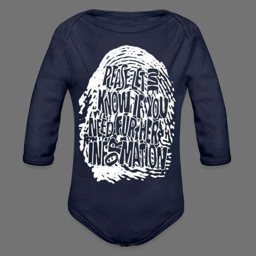 Fingerprint DNA (white) - Organic Longsleeve Baby Bodysuit