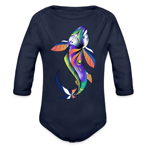 Regenbogen Fisch - Baby Bio-Langarm-Body