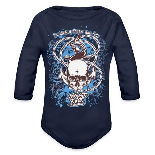 Skull Anker Design Art - Baby Bio-Langarm-Body