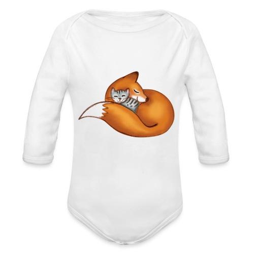 vosje met poes en witte tekst 'every life matters' - Organic Longsleeve Baby Bodysuit