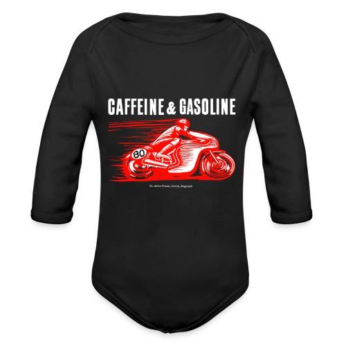 Caffeine & Gasoline white text - Organic Longsleeve Baby Bodysuit