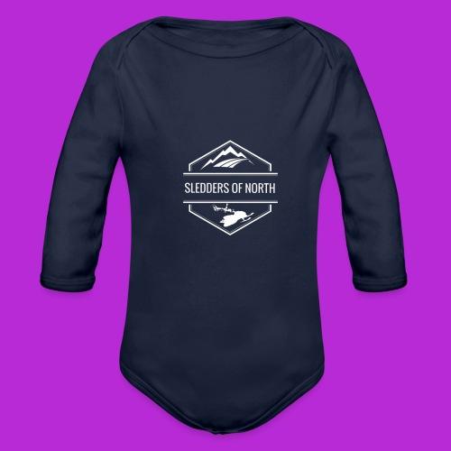Hoodie White Logo - Organic Longsleeve Baby Bodysuit