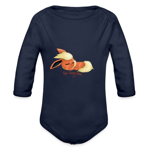 eevee - flareon - the sleppy one - Organic Longsleeve Baby Bodysuit