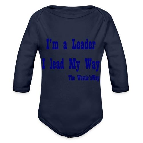 I lead My Way Blue - Ekologiczne body niemowlęce z długim rękawem