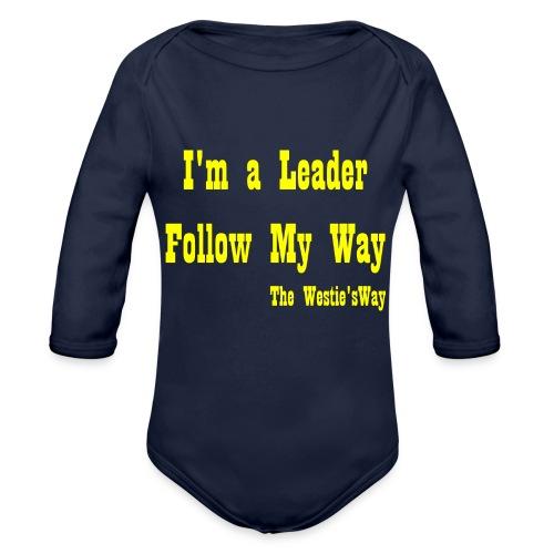 Follow My Way Yellow - Ekologiczne body niemowlęce z długim rękawem