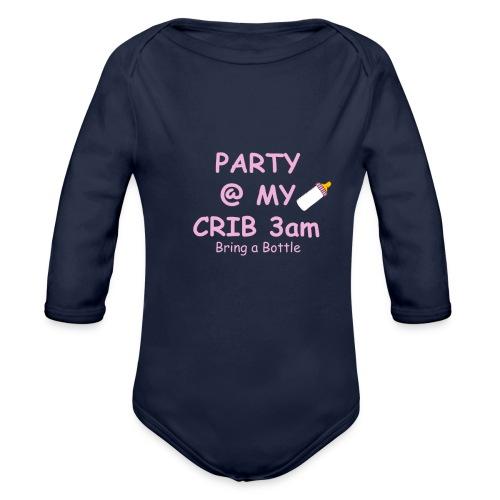 Baby Party @ crib vest - Organic Longsleeve Baby Bodysuit