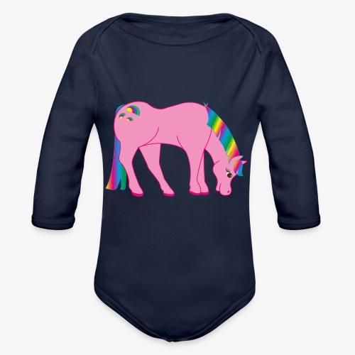 Regenbogen Pferd - Baby Bio-Langarm-Body