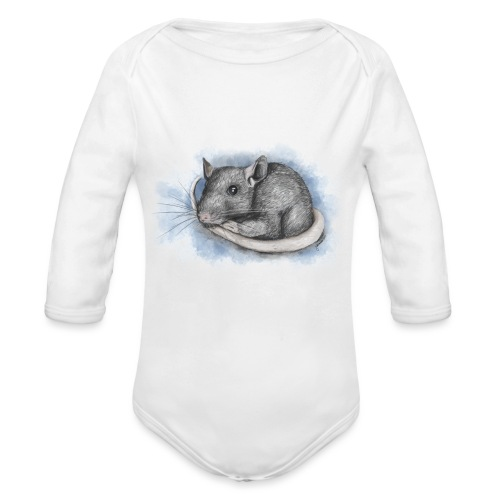 Rottapiirros - Värikuva - Vauvan pitkähihainen luomu-body