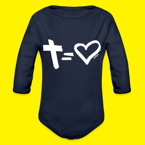 Cross = Heart WHITE // Cross = Love WHITE - Organic Longsleeve Baby Bodysuit