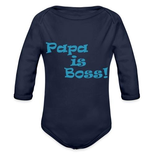 Papa is Boss! - boy - Baby Bio-Langarm-Body