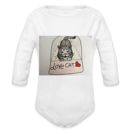 Love cat - Body ecologico per neonato a manica lunga
