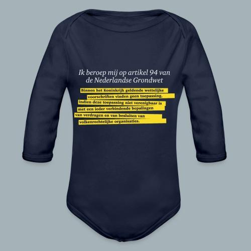 Nederlandse Grondwet T-Shirt - Artikel 94 - Baby bio-rompertje met lange mouwen