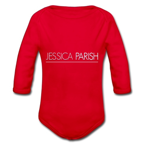 Jessica Parish Schriftzug weiß - Baby Bio-Langarm-Body