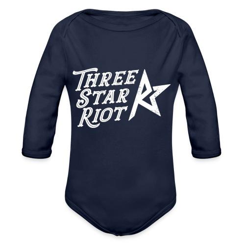 Three Star Riot logo vaalea - Vauvan pitkähihainen luomu-body