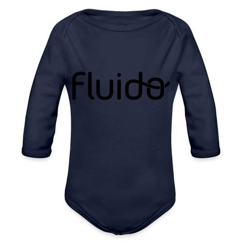 fluidologo_musta - Vauvan pitkähihainen luomu-body