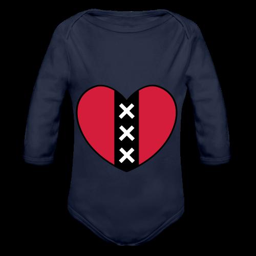 Hart met het symbool van de stad Amsterdam - Baby bio-rompertje met lange mouwen