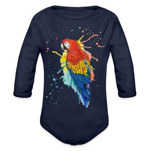 Parrot Watercolors Nadia Luongo - Body ecologico per neonato a manica lunga